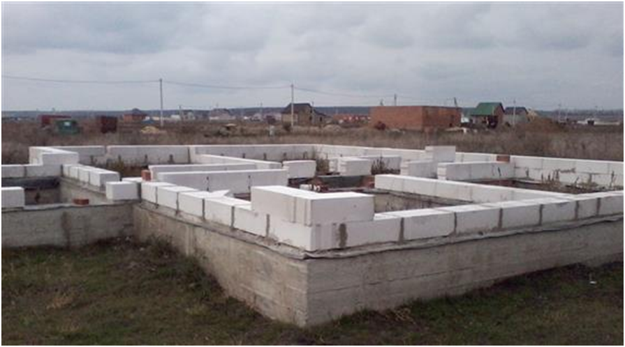 Fundament pod dom iz penoblokov